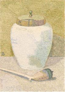 3. Hendricus Petrus Bremmer, Stilleven met tabakspot en pijp, 1907, aquarel op papier, particuliere collectie (voorheen: Kunstgalerij Albricht)
