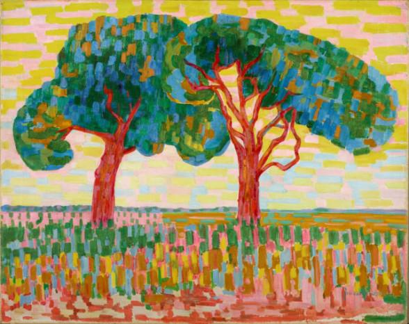 2. Jacoba van Heemskerck van Beest, Twee bomen, ca. 1908-1910, olieverf op doek, 70.5 x 88.2 cm, Gemeentemuseum Den Haag