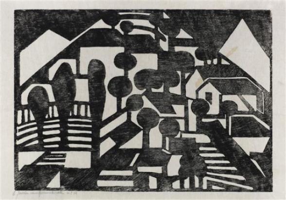 4. Jacoba van Heemskerck van Beest, Compositie 6, no. 14, 1915 houtsnede, inkt op papier, 32.3 x 50.6 cm, Gemeentemuseum Den Haag