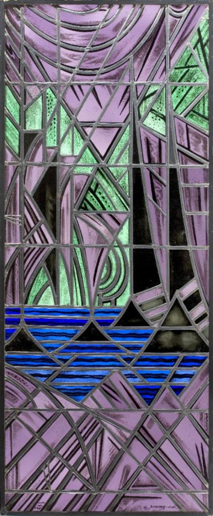 5. Jacoba van Heemskerck van Beest (ontwerp en grisailleschildering), Atelier J.W. Gips (uitvoerder), Deurpaneel van glas-in-lood, 166.5 x 68.5 cm, 1920, Den Haag